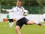 GDANSK, POLAND - JUNE 07:  Lukas Podolski controls the ball during a Germany training session at their UEFA EURO 2012 training ground on June 7, 2012 in Gdansk, Poland.  (Photo by Joern Pollex/Bongarts/Getty Images)