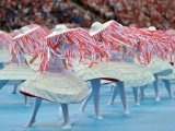 Dancers perform during the opening ceremony prior the kick off of the Euro 2012 football championships match Poland vs. Greece, on June 8, 2012 at the National Stadium in Warsaw.  AFP PHOTO / GABRIEL BOUYS        (Photo credit should read GABRIEL BOUYS/AFP/GettyImages)