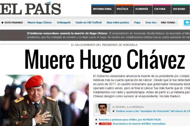 As inform la prensa internacional la muerte de hugo for Noticias del espectaculo internacional hoy